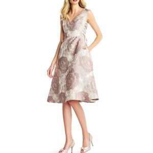 Adrianna Papell Lace-Up Floral Brocade Dress Taupe